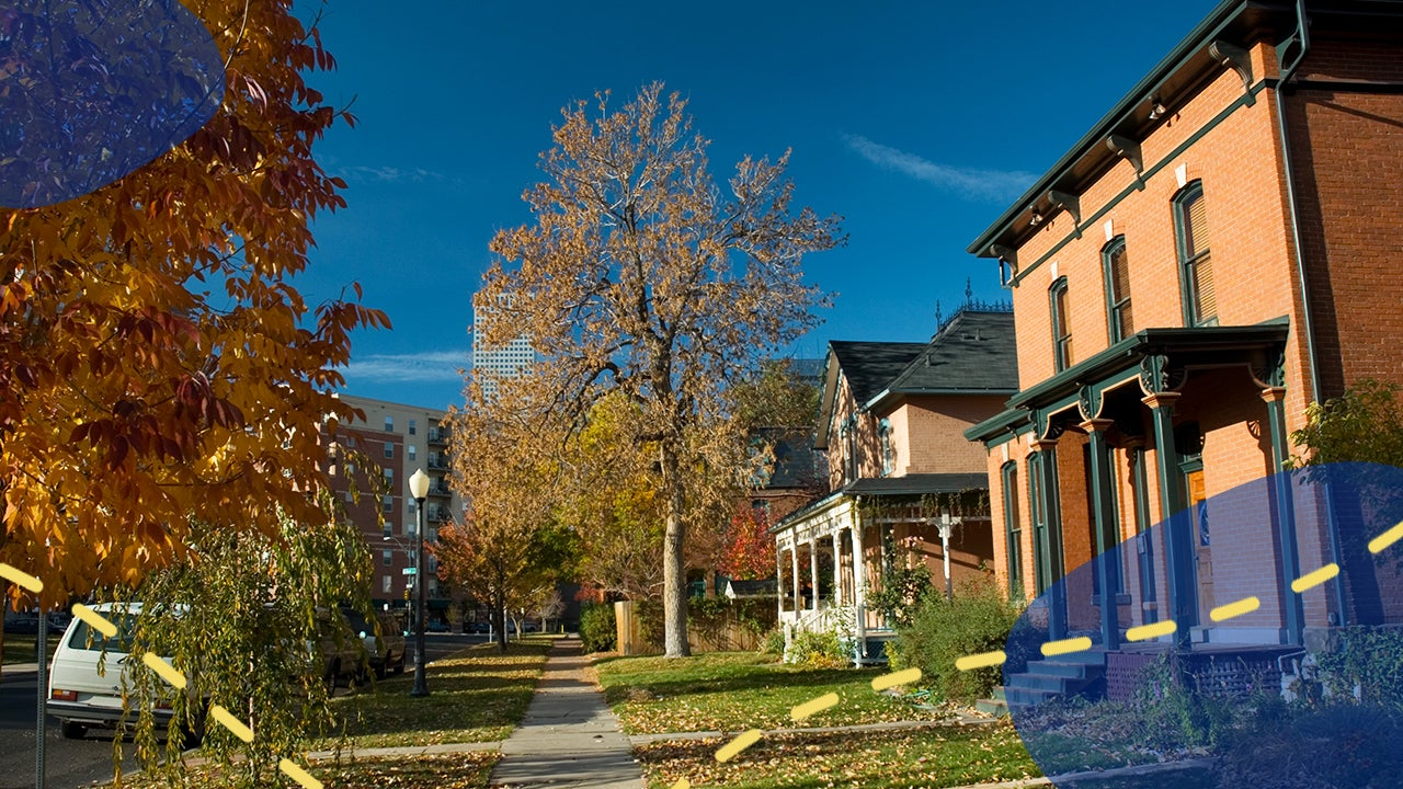 Homes in Denver, Colorado with illustration