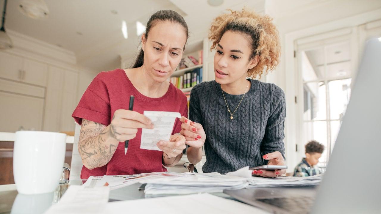 Lesbian couple dealing with finances
