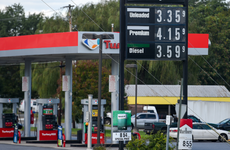 The gasoline price sign and fuel pumps for the Turkey Hill gas station in Pennsylvania