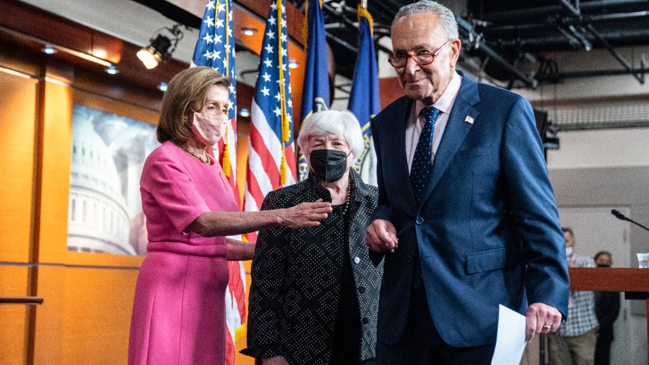 Speaker of the House Nancy Pelosi (D-CA), Secretary of Treasury Janet Yellen and Senate Majority Leader Chuck Schumer (D-NY) at a news conference at the U.S. Capitol.