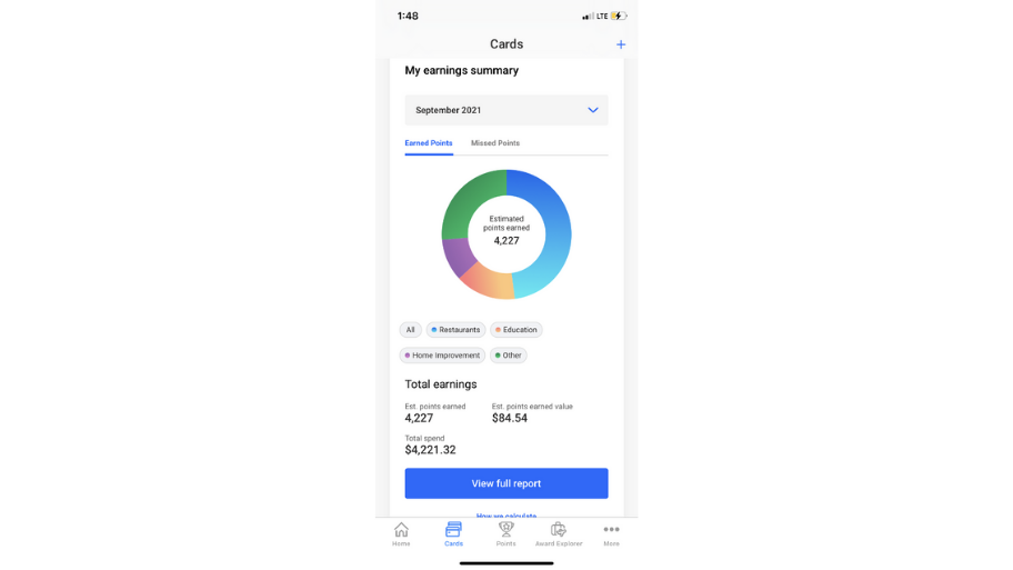 Screenshot of The Points Guy app 'My earnings summary' page