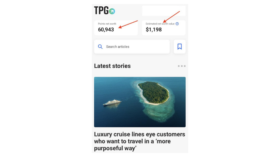 Screenshot of The Points Guy app 'Latest stories' page with your points net worth at the top