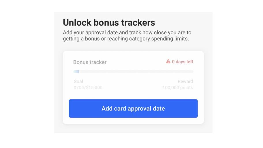Screenshot of The Points Guy app 'Unlock bonus trackers' page