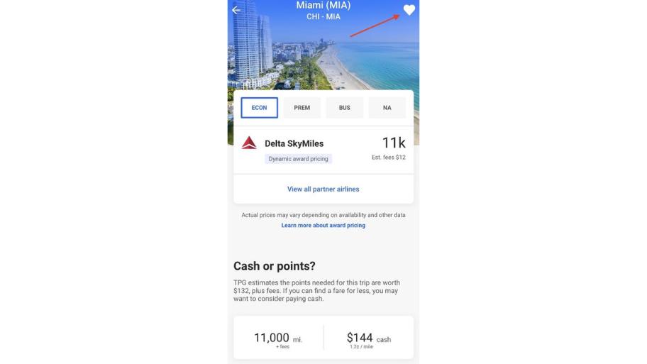 Screenshot of The Points Guy app flight bookingpage