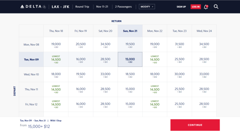 Screenshot of the Delta website booking page