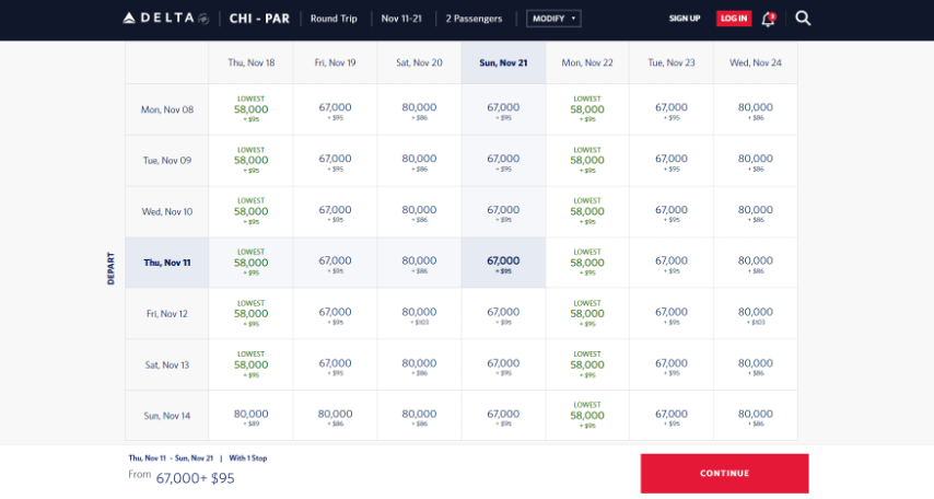 Screenshot of the Delta website booking page featuring flights from Chicago to Paris
