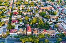 Rainbow Row in Charleston South Carolina SC Drone Skyline Aerial