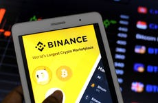 A Binance app appears on a mobile device