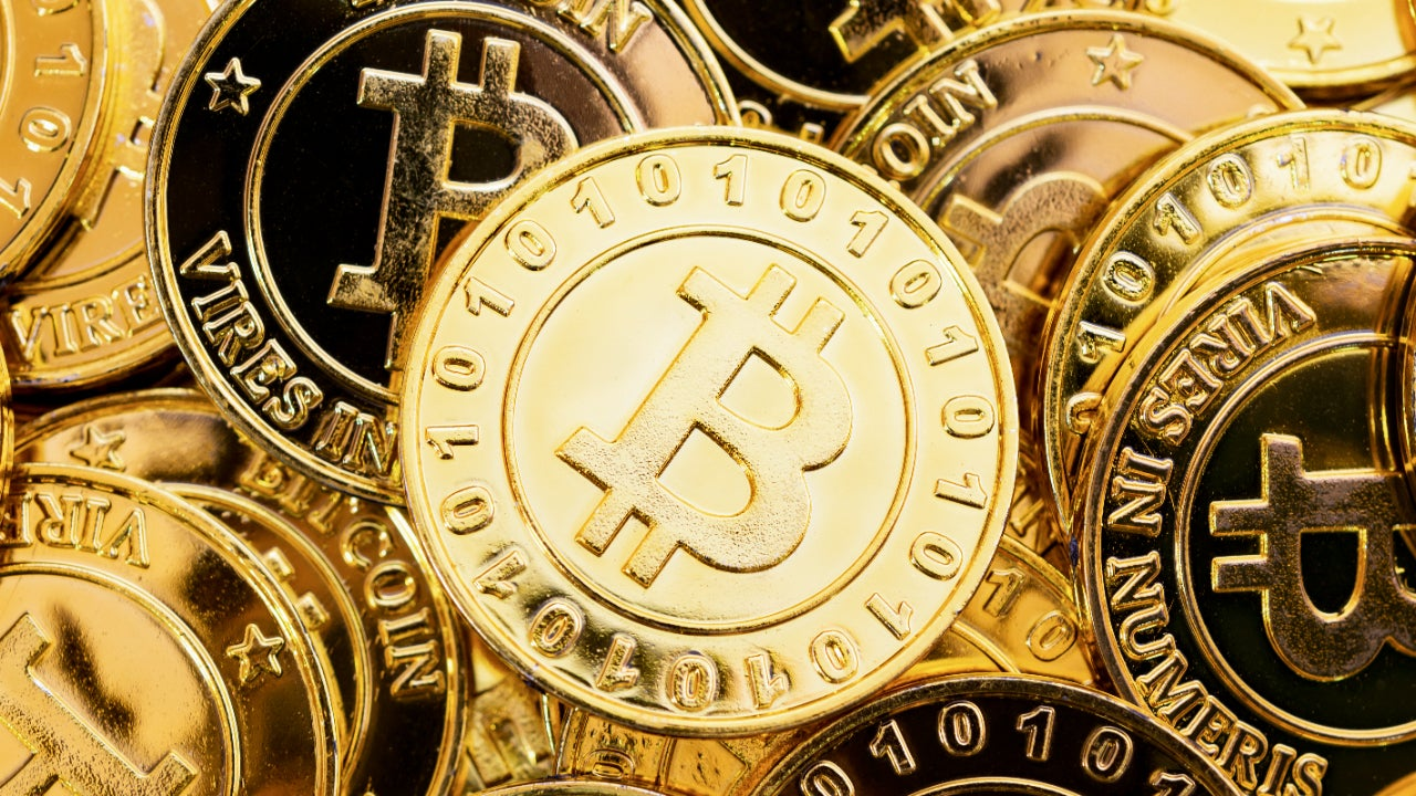 A picture of golden Bitcoins