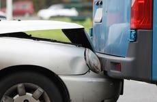 Damaged automobile on road