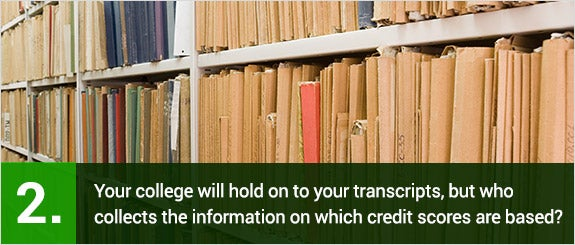 Your college will hold on to your transcripts, but who collects the information on which credit scores are based?  © artkamalov/Shutterstock.com