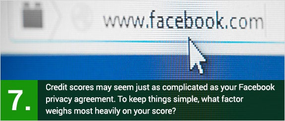 (7)	Credit scores may seem just as complicated as your Facebook privacy agreement. To keep things simple, what factor weighs most heavily on your score? © Kesu/Shutterstock.com