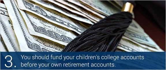 You should fund your children's college accounts before your own retirement accounts. © Marie C. Fields/Shutterstock.com