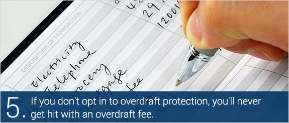 If you don't opt in to overdraft protection, you'll never get hit with an overdraft fee. © John Kwan/Shutterstock.com