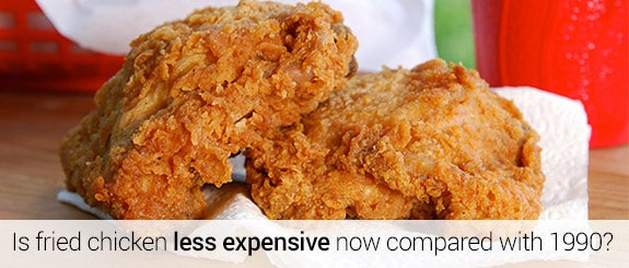 Is fried chicken less expensive now compared with 1990? © MSPhotographic/Shutterstock.com