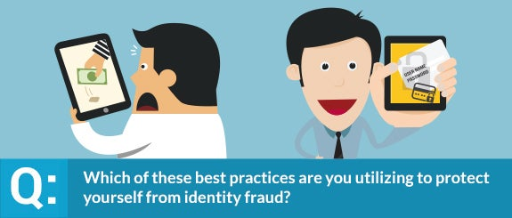 Which of these best practices are you utilizing to protect yourself from identity fraud? | Left: © HieroGraphic/Shutterstock.com; Right: © IdeaGU/Shutterstock.com